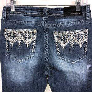 New Grace in LA easy fit Skinny embellished jeans